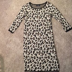 Animal cheetah print cashmere blend sweater dress